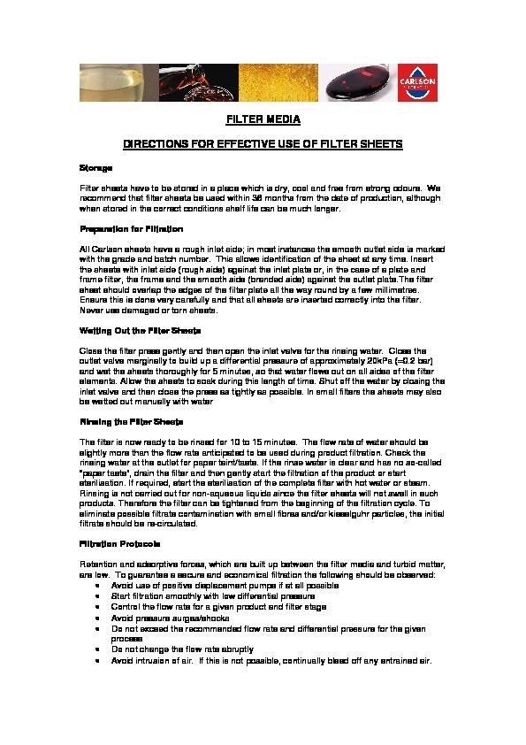 Filter Sheet Use