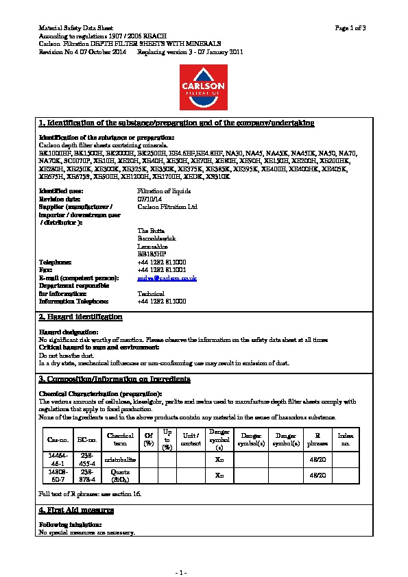 M.S.D.S. Mineral filter sheets Iss:4