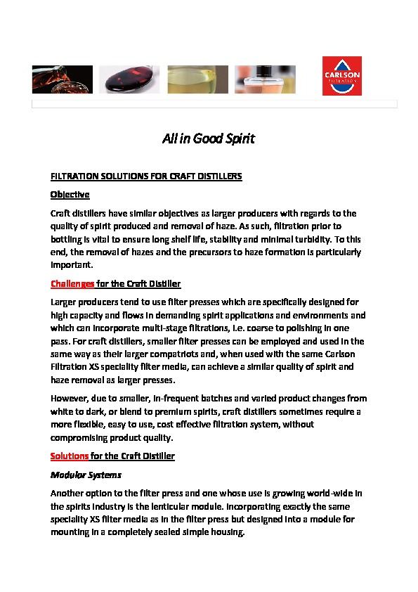 Filtration Solutions for Craft Distillers (All in Good Spirit 002)